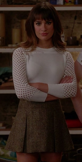 Rachel's white perforated sweater and tweed skirt on Glee