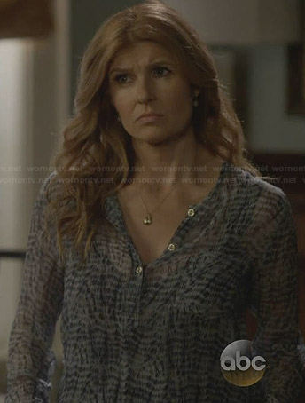 Rayna's blue printed henley blouse on Nashville