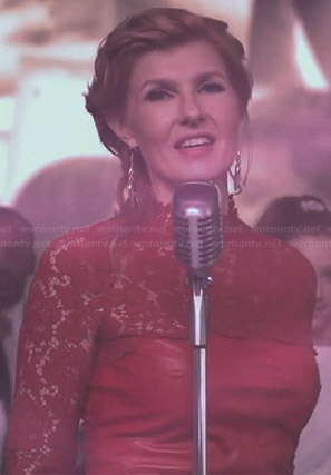 Rayna's red leather and lace dress on Nashville