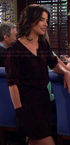 Robin's red leopard spot print dress on How I Met Your Mother