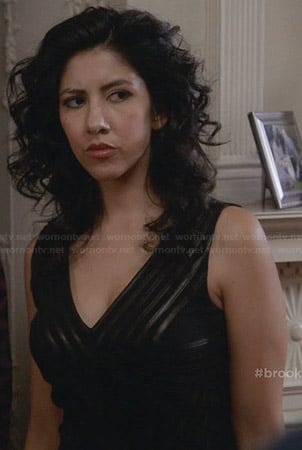 Rosa's black leather vneck dress on Brooklyn 99