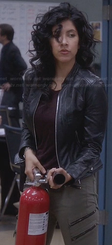 Rosa's leather jacket and green zip-pocket jeans on Brooklyn Nine-Nine
