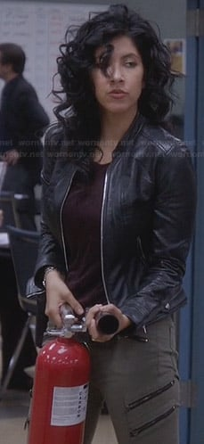 Rosa's leather jacket and green zip pocket cargo pants on Brooklyn 99