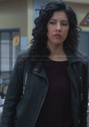 Rosa's leather jacket with quilted shoulders on Brooklyn Nine-Nine