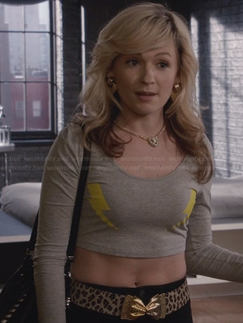 Samantha's grey lightning bolt crop top and leopard print belt with gold bow on The Carrie Diaries