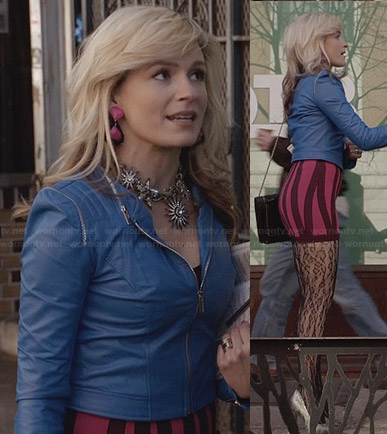 Samantha's purple and pink striped bodycon dress and blue leather jacket on The Carrie Diaries