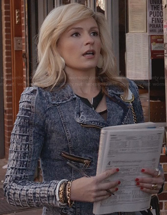 Samantha's denim moto jacket with textured sleeves on The Carrie Diaries