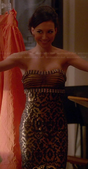 Santana's gold strapless dress on Glee