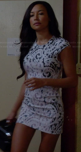 Santana's white printed mini dress on Glee