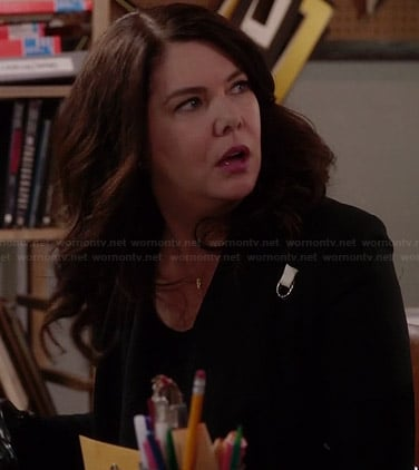 Sarah's black jacket with white detail on Parenthood