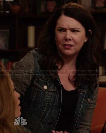 Sarah's denim jacket with grey sleeves on Parenthood