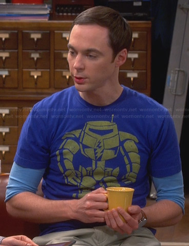 Sheldon's blue robot man-bot tee on The Big Bang Theory