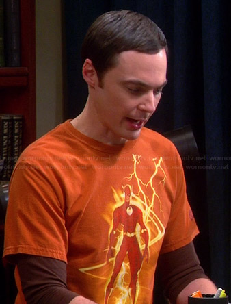 Sheldon's orange lightning Flash Tee on The Big Bang Theory