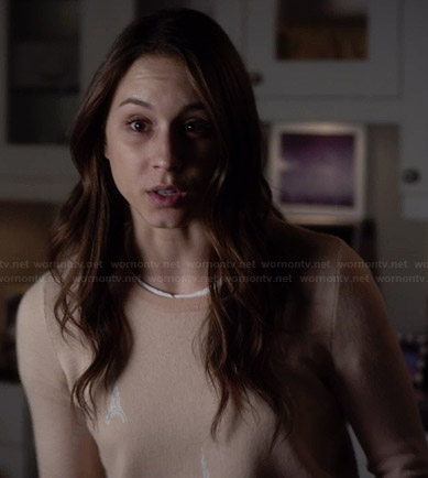 Spencer's cream Eiffel Tower sweater on Pretty Little Liars