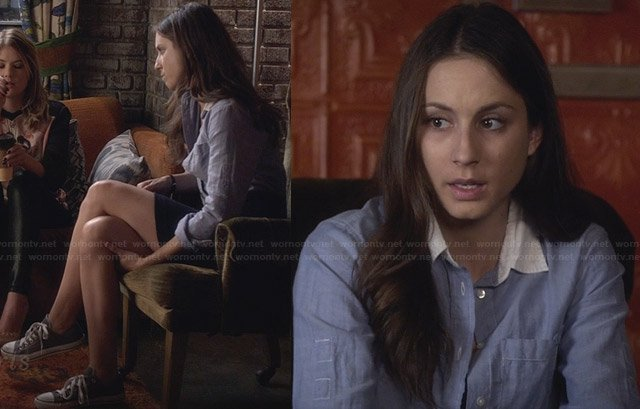 Spencer's blue shirt with white collar and grey chuck taylors on Pretty Little Liars