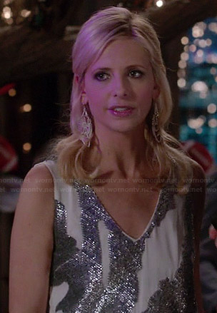 Sydney's white and silver sequinned dress on The Crazy Ones