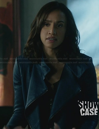 Tess's blue leather jacket on Beauty and the Beast
