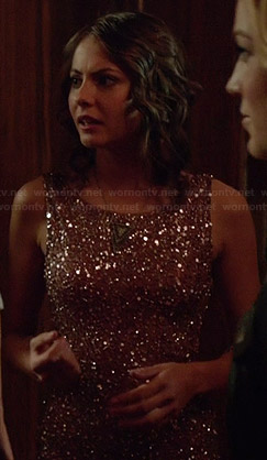 Thea's dusty pink sequin and beaded dress on Arrow