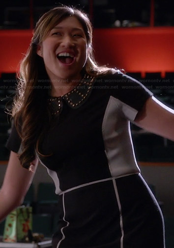Tina's black and white colorblock dress and studded collar on Glee