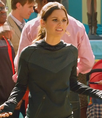 Zoe's black and grey chevron hooded pullover on Hart of Dixie