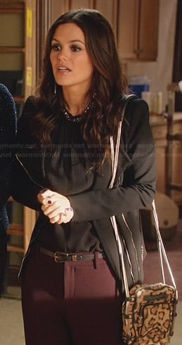Zoe's black jacket and beaded neck top on Hart of Dixie