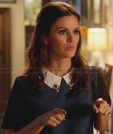Zoe's blue top with white studded collar on Hart of Dixie