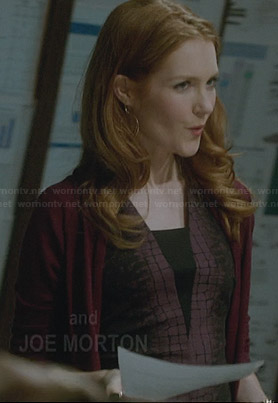 Abby's purple crocodile print dress on Scandal