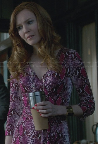 Abby's purple snake print wrap dress on Scandal
