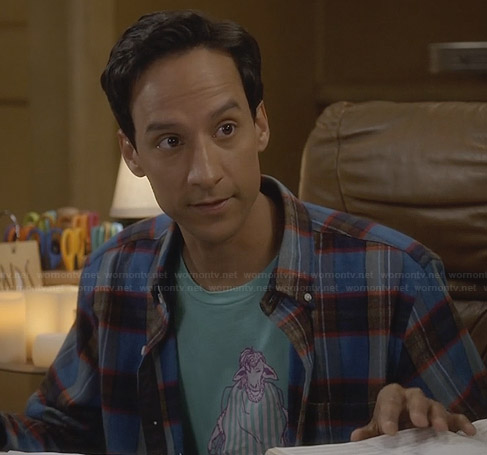 Abed's aqua green sheep graphic tee on Community