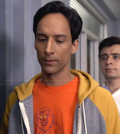 Abed's orange lion tee on Community