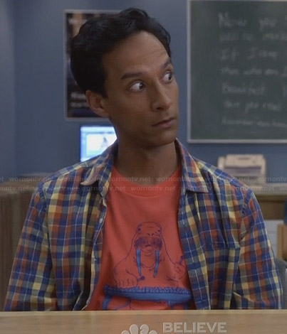 Abed's orange walrus tee on Community