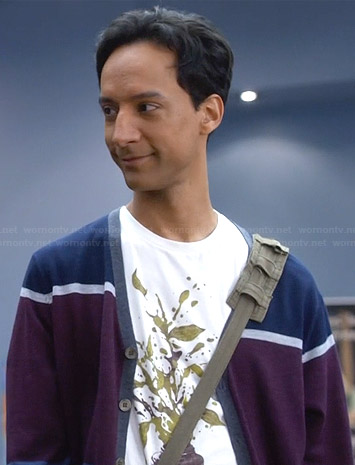 Abed's plant graphic tee and colorblocked cardigan on Community