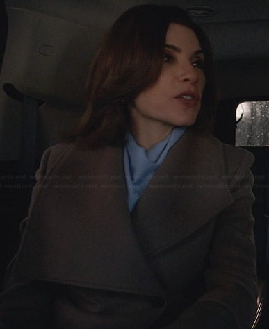 Alicia's asymmetric shawl collar coat on The Good Wife