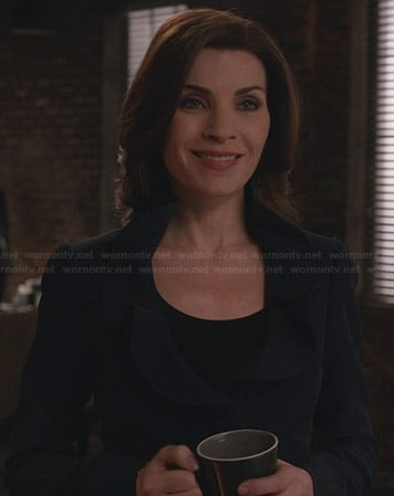 Alicia's navy blue ruffled blazer on The Good Wife