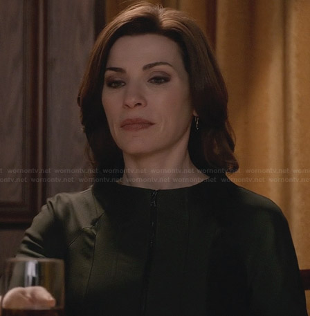 Alicia's panelled zip front jacket on The Good Wife
