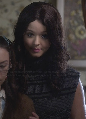 Alison's grey patterned sleeveless turtleneck sweater on Pretty Little Liars
