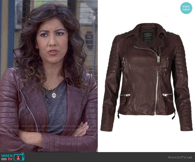 All Saints Oxblood Biker Jacket