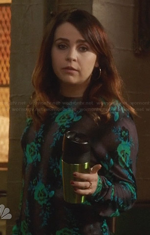 Amber's blue and green floral sweater on Parenthood
