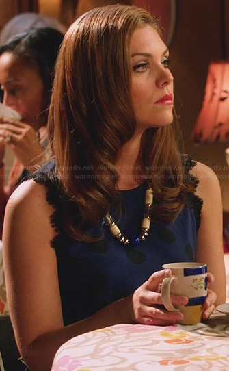 AnnaBeth's blue polka dot open back dress on Hart of Dixie