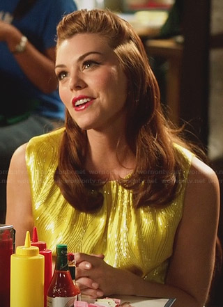 AnnaBeth's yellow top with metallic pattern on Hart of Dixie
