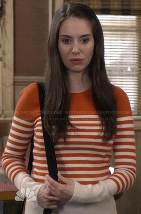 Annie's orange striped sweater on Community