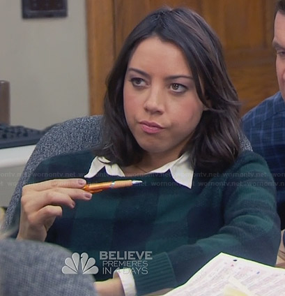 April's green checked sweater on Parks and Recreation