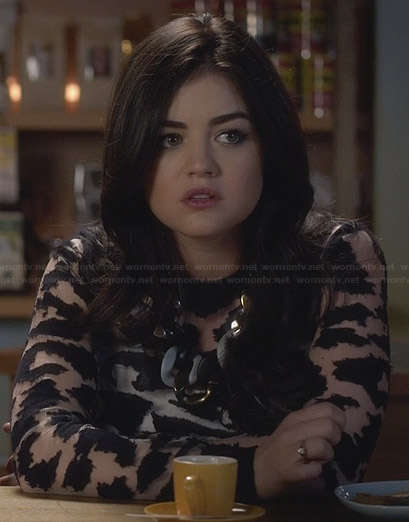 Aria's black sheer animal top on PLL