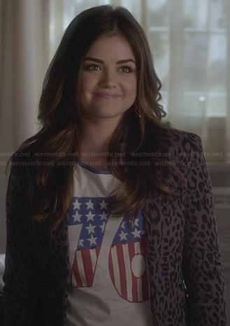 "Aria's ""76"" top and leopard print blazer on Pretty Little Liars"