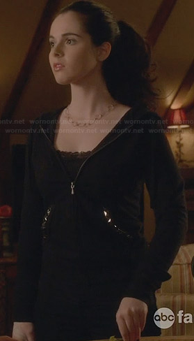 Bay's black studded hoodie on Switched at Birth