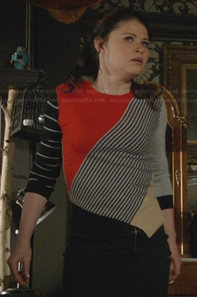 Belle's red mixed stripe sweater on Once Upon a Time