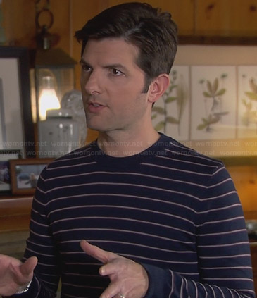 Ben's navy blue striped sweater on Parks and Recreation