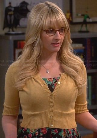 Bernadette's black floral dress and yellow cropped cardigan on The Big Bang Theory