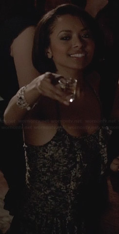 Bonnie's black printed ruffle top on The Vampire Diaries