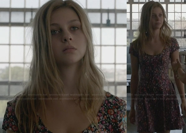 Bradley's purple floral dress on Bates Motel